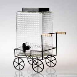 Vente en gros distributeur de boissons en verre transparent pot d'eau en verre avec design Support en métal noir