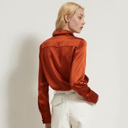 2020년 여름 가을, Collar Silk Shirts Ladies Long 실크 블라우스 레드 실크 블라우스