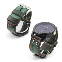 Новый ремень для часов с пилотом по прибытии Зеленый Aviator 24 мм кожаные часы Полосы