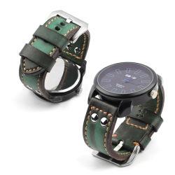 Nueva llegada de la correa de reloj piloto aviador verde de cuero correas de reloj de 24mm ver bandas de cuero