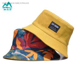 Sublimación personalizada al por mayor Nueva impermeable Pescador suave Brim tejido corto Parche Logo impresión floral Hombre Mujer Moda Verano Sun Golf Gorra de cubo