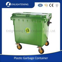 1100L/660L große Outdoor Public Street HDPE 4 Wheel Industrial Plastic Müll/Abfall/Müll/Wheelie Abfallbehälter mit Deckel Pedal