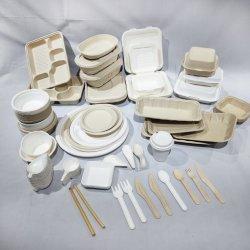 일회용 식기류 사탕수수 바카스 음식 상자 100% 조리용 과육 식기류 생분해성 수저 테이크어웨이 음식 용기