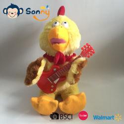 Personnalisable de poulet en peluche musicale jouer de la guitare