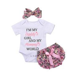 Новорожденный ребенок девочка Romper Jumpsuit Bodysuit +брюки шорты+головная стяжка мы предлагаем установить