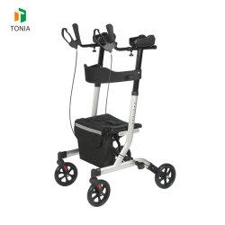 Rollator dritto sull'esercitazione piegante di alluminio esterna leggera Rollator delle rotelle del camminatore 4 con il contributo del rilievo di braccio dell'unità di elaborazione agli anziani