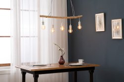 나무로 되는 Bar+Black 금속 램프 LED/Lighting/Light/Lamp/Furniture/Wooden/Decoration에 늘어진 5L