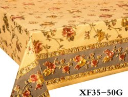 XHM Fabrik-glänzende Goldrosen-Entwurfs-Blume Belüftung-wasserdichte Tischdecke für Dekoration-Rolle