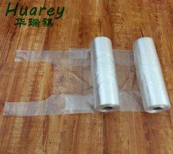 Clear T-Shirt Vest Carrier Style Plastic on Roll fruit Roll Tas met bindhandvat