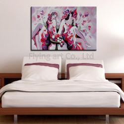 Впечатление красочные украшены работами современных девочек масляной живописи - на стене