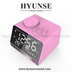 Reloj de alarma inalámbrico Bluetooth Pantalla LCD Espejo Hotel orador