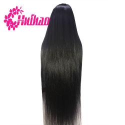 Longue noir vierge droites Cheveux humains plein Queue de Cheval de la soie perruque dentelle Cap pour faire 40inch Lace Wig sèche