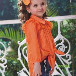 Schöne orange Chiffon- vordere Kurzschluss-Rückseiten-lange Bluse für Kind-Mädchen