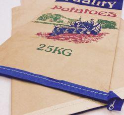 Sacs de papier kraft blanc personnalisé avec PP tissés enduits bas couture Sacs en papier kraft, sac de charbon de bois