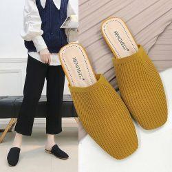 Los recién llegados de punto grueso sandalias de tacón de Moda Mujer Slolid perezoso zapatos zapatillas Color
