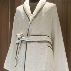 100% algodão Hotel roupão de banho com logotipo Jacquard