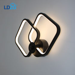 Fronteira interior Langde 24W*2 Luxury Hotel Preto industrial moderna candeeiro de parede de cabeceira LED LD4284