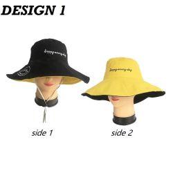 Lächeln-glückliche tägliche Stickerei fasst Revisible breiten Rand-Wannen-Hut für Damen ab