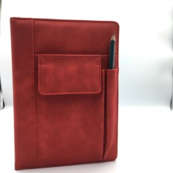 Stampa rossa di lusso di cuoio del diario del taccuino dell'unità di elaborazione di stampa su ordinazione promozionale 2020 con il contenitore di regalo ed il sacchetto, diario del kit con la penna
