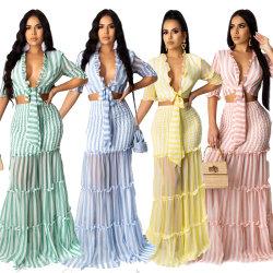 ヨーロッパ及びアメリカの方法女性の熱い様式は縞されたシフォンの印刷物 レディーススリムスーツスカートイブニングドレススカート