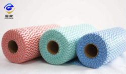 중국 공장은 Spunlace 청소 닦음을%s 비스코스 그리고 30% 폴리에스테 짠것이 아닌 직물 파 70%를 인쇄했다