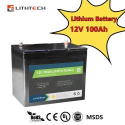 LithTech와 유럽 최고의 인기 셀러 리드 산 Solar RV Marine 12V 100ah 200ah 300ah LiFePO4 Lithium 이온 배터리