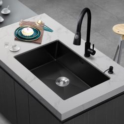 Évier de cuisine évier double évier ménage Nano noir Handmade évier en acier inoxydable 304 bassin en vertu de compteur