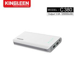 Pak van de Batterij van de Telefoon van de Cel van de Output USB van de Lader van de Bank 20000mAh van de macht het Draagbare Dubbele Externe met LEIDEN Licht voor de Melkweg van iPhone iPad Samsung