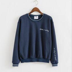 Lady's Sweater Camiseta con cuello de tejido de color y el manguito