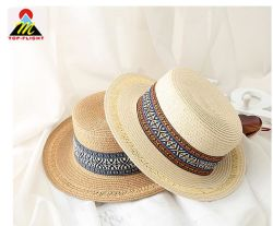 Las mujeres de moda elegante ala gran papel de la cuchara Sombrero de Paja sombreros de logotipo personalizado