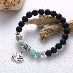 الأحجار البركانية سلسلة اليد سلسلة من سلسلة حركات الهدر بوذا بيدز زهرة سوار تجوية مجوهرات مانيه