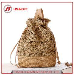 Handgewirkter Rucksack-/-stroh-Beutel/gesponnener Beutel/beiläufiger Handtasche/Wannedrawstring-Bündel-Beutel