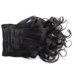 Indian onda suelta Clip negro natural en el 100% cabello humano.