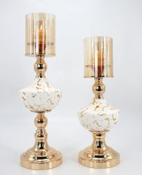 Partie de l'or et blanc brillant métallique couleur pièce maîtresse de mariage de la céramique Bougeoir chandelier fête de mariage Accueil Décoration de Noël