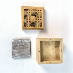 Houten wierook brander vierkante geschenkverpakking