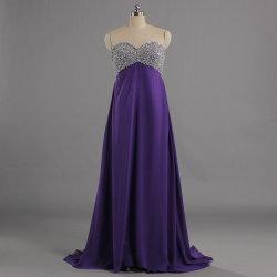 Vestiti viola lunghi da promenade dell'abito di sera dell'impero per la donna incinta E578