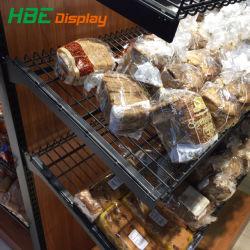 Mensola della torta del pane del supermercato del metallo e di legno della vetrina