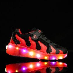 Luz de LED de tênis de corrida com luz LED de Roda Única esfriar o Flash Capota Roletes