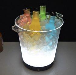 Pilha recarregável acrílico plástico LED piscando balde de gelo para o Rum Cerveja Vodka Whisky Vinho Champanhe