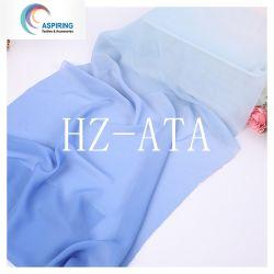 Tejido exclusivo impresas por sublimación de gradiente de tejido de gasa para ropa de mujer
