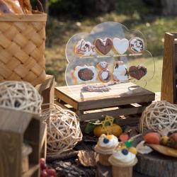 Удалите квадратного акрилового бруска Cupcake подставка для дисплея 3 яруса свадебный торт на дисплее для монтажа в стойку