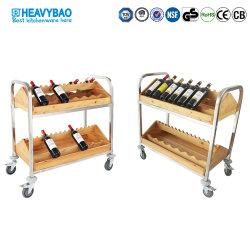 Отель Heavybao используйте цельной древесины при перемещении тележки продовольствия деревянные вино тележки