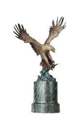 Tier gestaltet Adler-Hauptdekor-Marmor-Unterseiten-Figürchen-Bronzestatuen