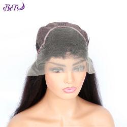Envío rápido de Malasia Pre-Plucked Yaki Kinky encaje peluca frontal recta