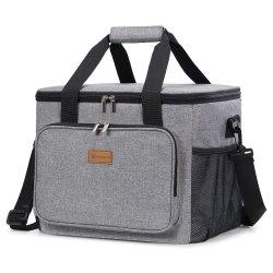 حقيبة تبريد قابلة للطي على شكل وجه ناعم مقاوم للتسرب كبير سعة 24 لترًا حقيبة تبريد محمولة للنزهات في الهواء الطلق على شاطئ السفر