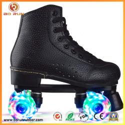 Quads Patines Quads de cuero de PU 4 ruedas High-Top brillante Patines zapatos para niños y niñas