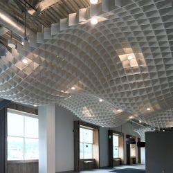 100% de fibras de poliéster design curvo do painel do teto acústico