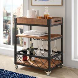 Home Basic 3-Tier кухня цельной древесины верхней части подвижного состава микроволновая печь с металлической ноге кухня тележки