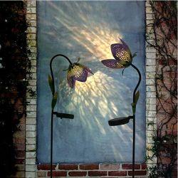 سينو جلوري مجموعة من 2 الطاقة الشمسية حديقة المعادن الورود أضواء LED، 31.5 بوصة زينة الحديقة المزخرفة للفناء، الفناء الخلفي والديكور الخارجي