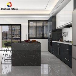 شقة فيلا رخيصة حديثة من نوع Lacquer/Wood/Crystal Factory Kitchen كيوبورد خزانة مطبخ من الخشب الرقائقي